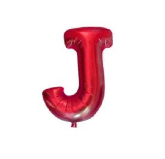 Balon Litera J, 42cm, Rosu, Heliu sau Aer
