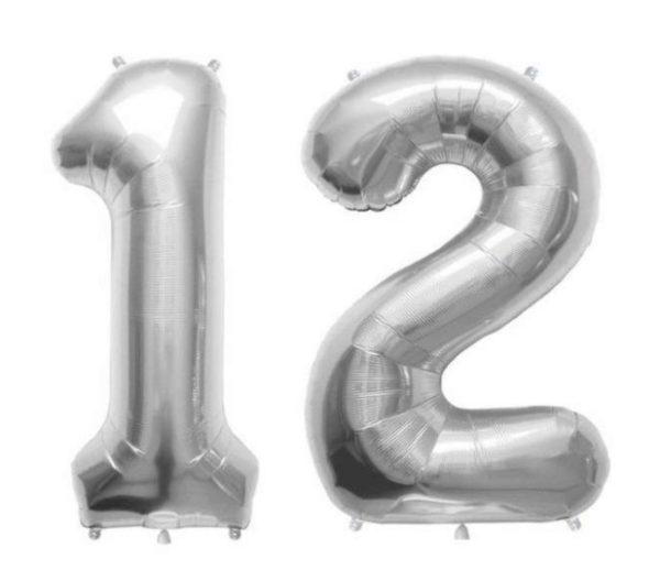 Set Baloane Mari Cifre Numar 12, Argintii, 75cm - Balon 12