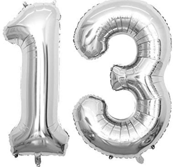 Set Baloane Mari Cifre Numar 13, Argintii, 75cm