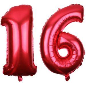 Set Baloane Cifre Numar 16, Rosii, 42cm