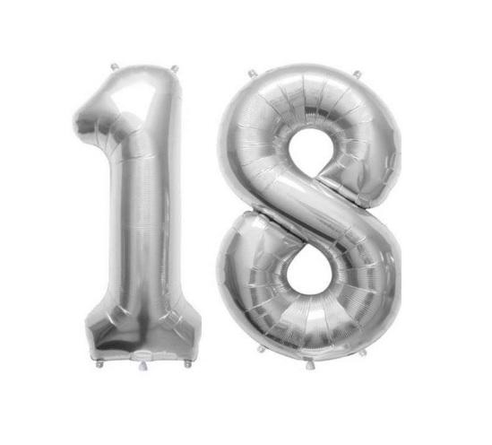 Set Baloane Mari Cifre Numar 18, Argintii, 75cm, Petrecere Majorat