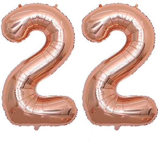 Set Baloane Mari Cifre Numere 22, Rose Gold, 75cm