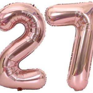 Set baloane mari cifre 27, rose gold, 1 metru, heliu sau aer