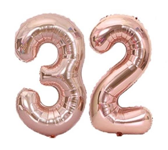 Set Baloane Mari Cifre Numar 32, rose gold, 75cm