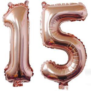 Set Baloane Mari Numar 15, Rose Gold - Balon 15