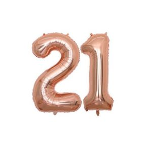 Set baloane mari numar 21, rose gold, 101cm, heliu sau aer