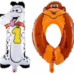 Baloane Cifre Numar 10 Animale - Caine si Maimuta - Balon 10