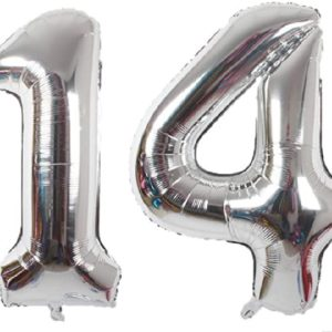 Baloane Cifre Numar 14, Argintii, Silver, 75cm - Balon 14