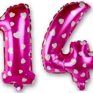 Set baloane cifre numar 14, roz cu inimi, 42cm - Balon 14