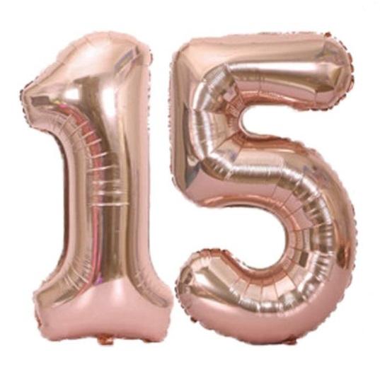 Baloane cifre numar 15, rose gold, 75cm - Balon 15