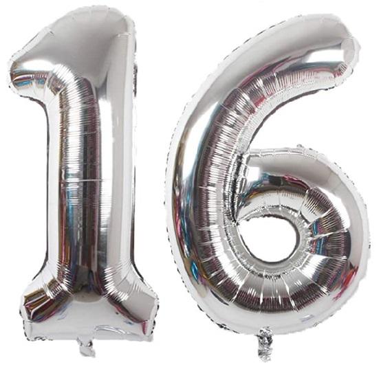 Set baloane mari cifre numar 16, argintii, 75cm - Balon 16