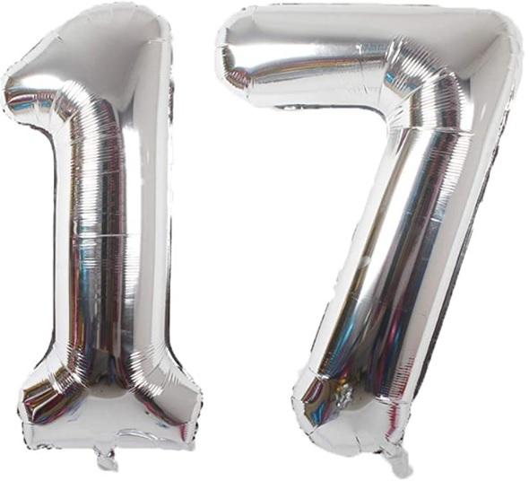Baloane cifre numar 17, argintii, 75cm - Balon 17