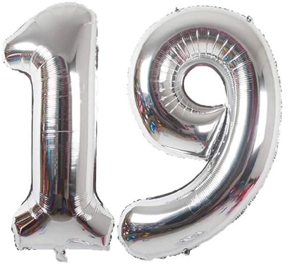 Baloane cifre numar 19, argintii, 75cm - Balon 19