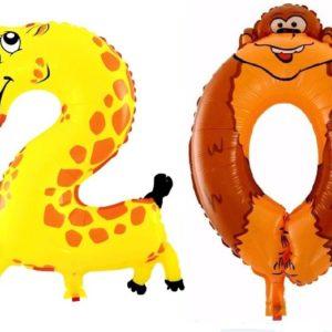 Set Baloane Cifre Numar 20 Animale - Girafa si Maimuta - Balon 20