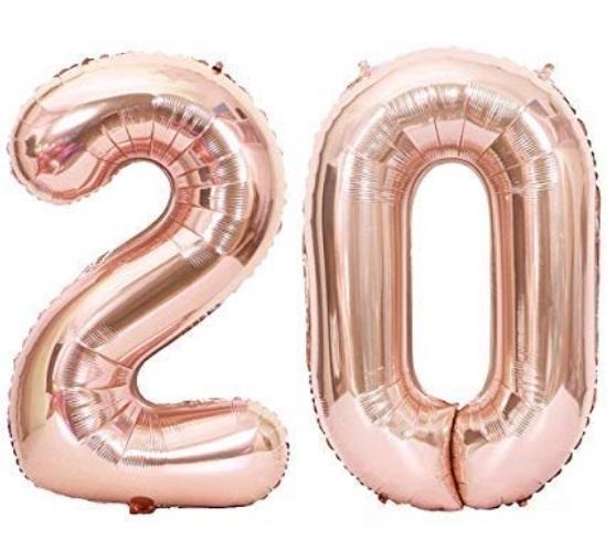 Set baloane cifre numar 20, rose gold, 44cm - Balon 20
