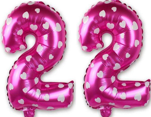 Set baloane cifre numar 22, roz cu inimi, 42cm - Balon 22