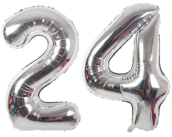Set baloane cifre numar 24, argintii, 75cm - Balon 24