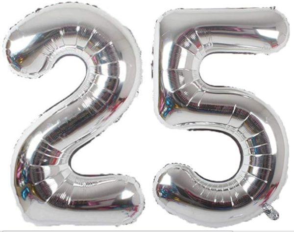 Set baloane cifre numar 25, argintii, 75cm - Balon 25