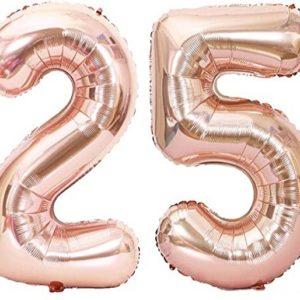 Baloane cifre numar 25, rose gold, 75cm