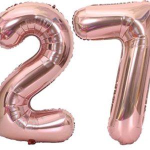 Set baloane cifre numar 27, rose gold, 75cm - Balon 27