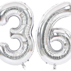 Set baloane cifre numar 36, argintii, 75cm - Balon 36