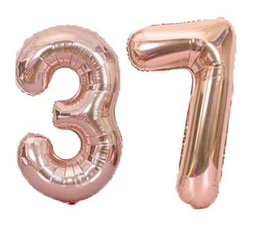 Set baloane cifre numar 37, rose gold, 75cm - Balon 37