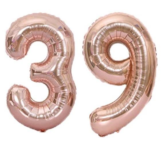 Set baloane cifre numar 39, rose gold, 75cm - Balon 39