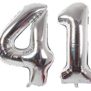 Set baloane cifre numar 41, argintii, 75cm