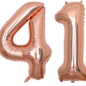 Set baloane cifre numar 41, rose gold, 75cm - Balon 41