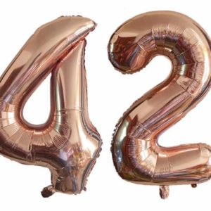 Set baloane cifre numar 42, rose gold, 75cm - Balon 42
