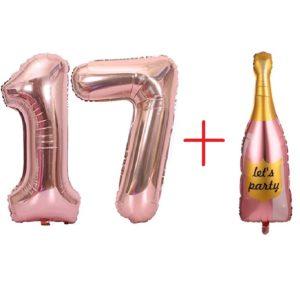 Set Baloane Cifre 17 + Balon Mare Sampanie, Heliu sau Aer