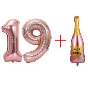 Set Baloane Cifre 19 + Balon Mare Sampanie, 101cm