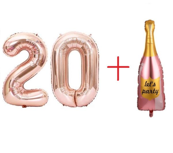 Set Baloane Cifre 20 + Balon Mare Sticla Sampanie: Let's Party