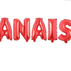 Set Baloane Litere Rosii Nume ANAIS - Balon ANAIS Nume