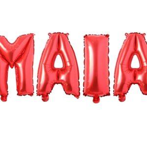 Set Baloane Litere Rosii Nume MAIA - Balon MAYA