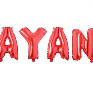 Set Baloane Litere Rosii Nume AYAN - Balon AYAN