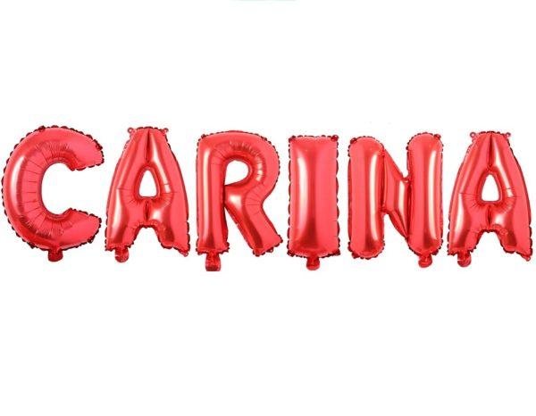 Set Baloane Litere Rosii Nume CARINA - Balon Carina