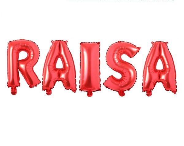 Set Baloane Litere Rosii Nume RAISA - Balon RAISA