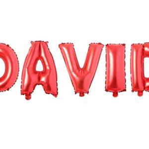 Set Baloane Litere Rosii Nume DAVID - Balon DAVID