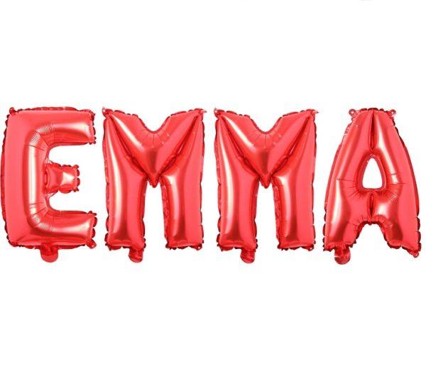 Set Baloane Litere Rosii Nume EMMA - Balon Ema