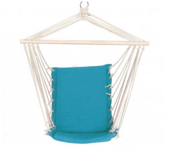 Hamac tip scaun fotoliu suspendat / agatat, albastru, lemn, sfoara