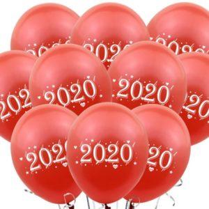 Set 10 Baloane Latex Rosii Inscriptionate 2020 - Heliu sau Aer