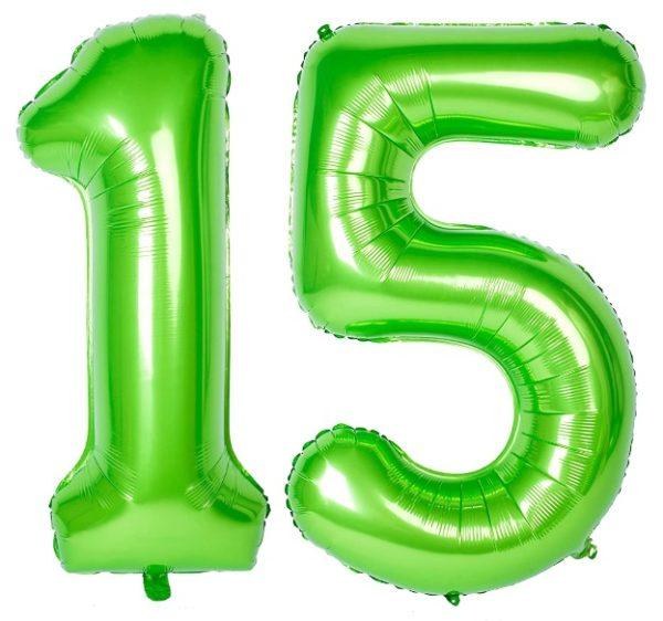 Baloane uriase cifre numar 15, verzi, 116cm - Balon 15