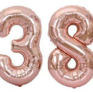 Set baloane cifre numar 38, rose gold, 75cm