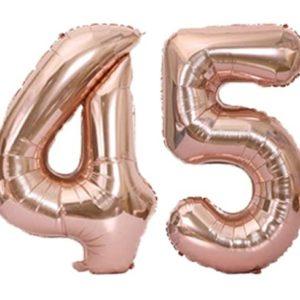 Set baloane cifre numar 45, rose gold, 75cm - Balon 54