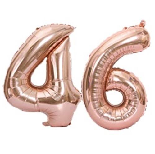 Set baloane cifre numar 46, rose gold, 75cm - Balon 46