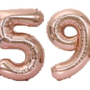 Set baloane cifre numar 59, rose-gold, 75cm - Balon 59 Varsta