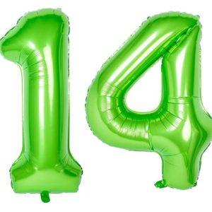 Set baloane uriase cifre numar 14, verzi, 113cm - Balon 14