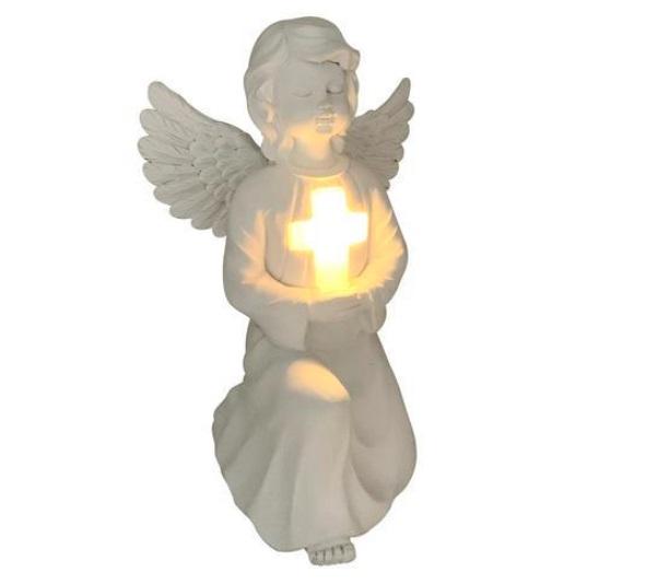 Decoratiune / Statuie Ceramica Inger cu Lampa Solara, pentru Exterior Gradina sau Terasa