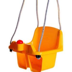 Leagan cu cadru rezistent copii, galben, pentru exterior, gradina sau curte